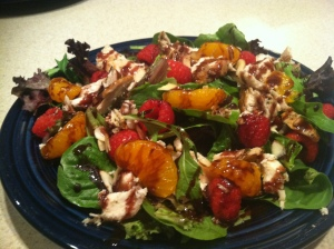 Orange Ginger Chicken Salad with Black Currant Balsamic Dressing