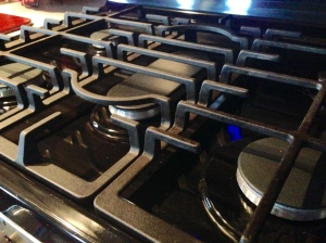 1. The burner grates of the stove